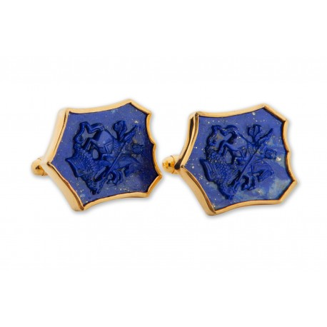 Lapis Cufflinks Saint George The Dragon Handmade Carved Gold Plated Sterling Silver 925