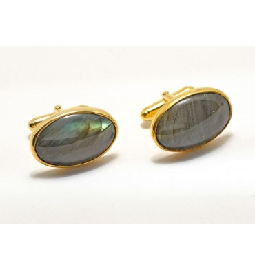 Labradorite Swivel Cuff Links - Gold Plated Silver