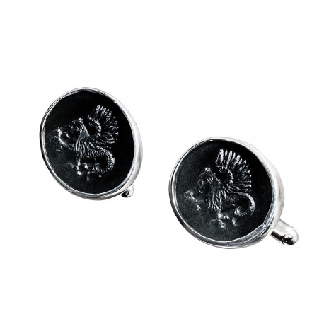 Black Onyx Cufflinks Celtic Dragon Handmade Carved Sterling Silver 925