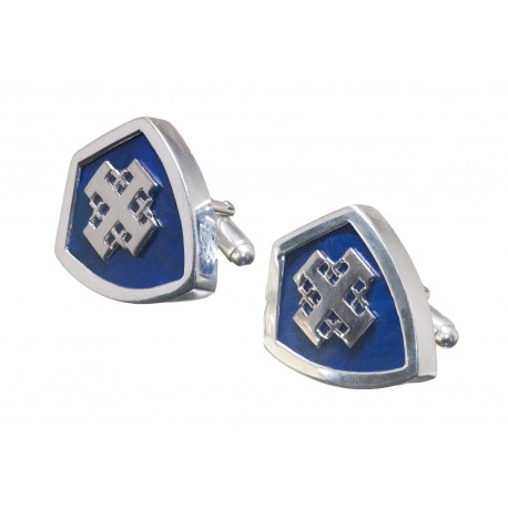 Jerusalem Cross Lapis Cufflinks Genuine Gemstone Sterling Silver 925
