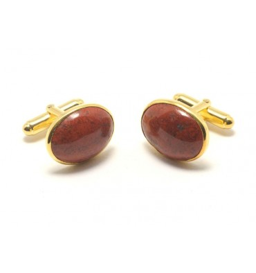 Red Jasper Gold plated Sterling Silver Traditional Oval Swivel Cufflins