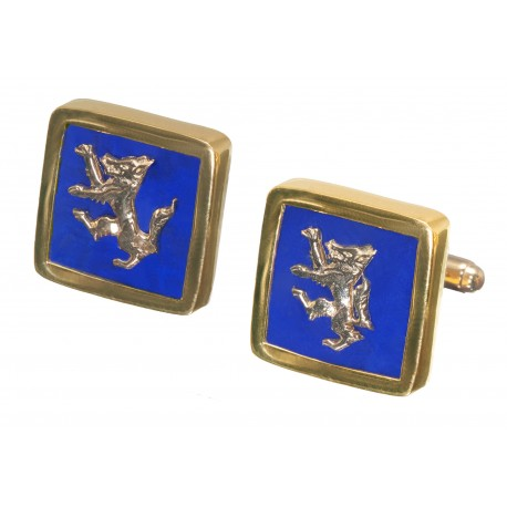 Wolf Lapis Cufflinks Genuine Gemstone Regnas Gold Plated Sterling Silver 925