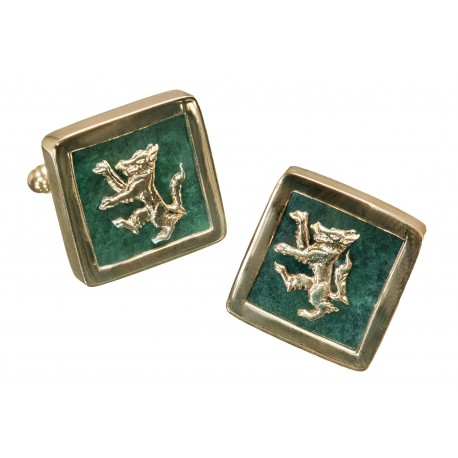 Wolf Jade Cufflinks Handmade Genuine Gemstone Gold Plated Sterling Silver 925