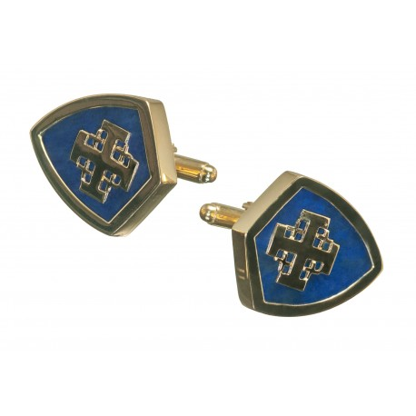 Jerusalem Cross Lapis Cufflinks Genuine Gemstone Gold Plated Sterling Silver 925