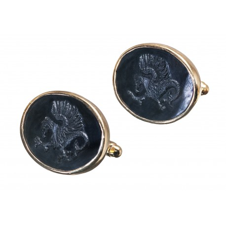 Black Onyx Cufflinks Celtic Dragon Handmade Carved Gold Plated Sterling Silver 925