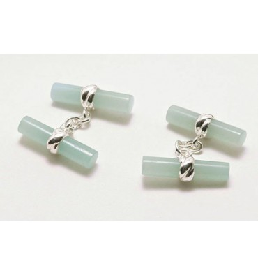 Aventurine Imperial Double Cufflinks - Sterling Silver