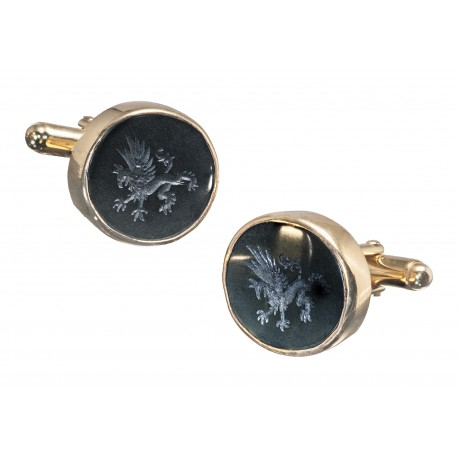 Black Onyx Cufflinks Heraldic Griffin Gold Plated Sterling Silver 925