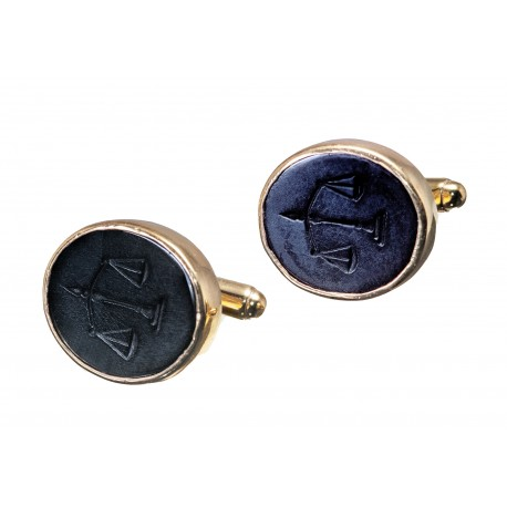 Black Onyx Cufflinks Heraldic Lawyers Gold Plated Sterling Silver 925