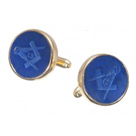 Lapis Cufflinks Masonic Hand Engraved Gold Plated Sterling Silver 925