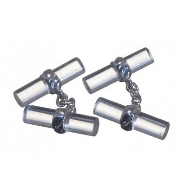 Rock Crystal Imperial Double Sterling Silver Cufflinks