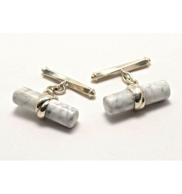 Howlite Chain and Shaft Grandee Cuff Links-Sterling Silver