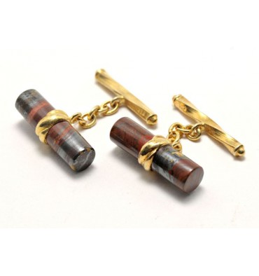 Hawk's Eye Chain and Shaft Grandee Gold Plated Sterling Silver Cufflinks