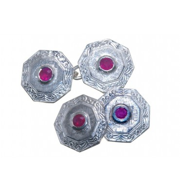 Traditional Octagonal Ruby Double Cufflinks-Sterling Silver