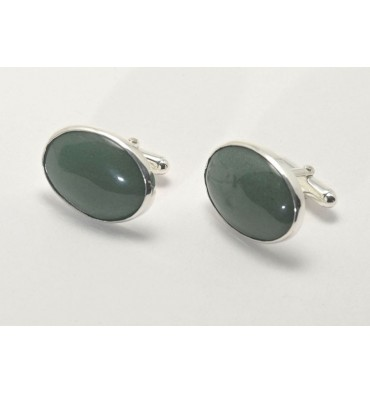 Aventurine Large Oval Swivel cuff Links-Sterling Silver