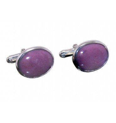 Rhodonite Traditional Oval Cufflinks- Sterling Silver