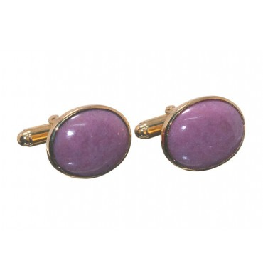 Rhodonite Traditional Oval Cufflinks- Gold Plated Silver