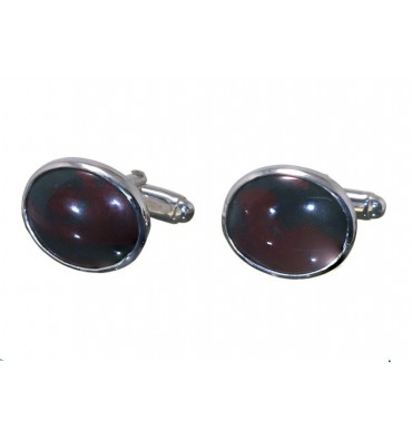Bloodstone Small Oval Swivel Cufflinks-Sterling Silver