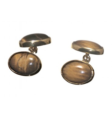 Tiger's Eye Mini Oval Double Gold Plated Silver Cufflinks