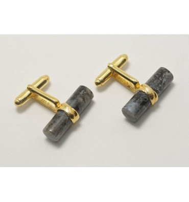 Labradorite Grandee Cylinder Gold Plated Sterling Silver Swivel Cufflinks
