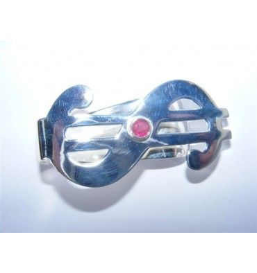 Silver And Ruby Money Clip --Great Gift