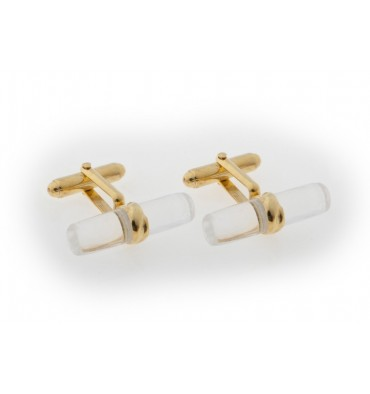 Rock Crystal Grandee Gold Plated Silver Cufflinks