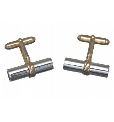 Sterling Silver Grandee Swivel Cufflinks - Gold Plated Silver