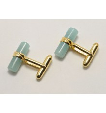 Aventurine Gold Plated Silver Cufflinks