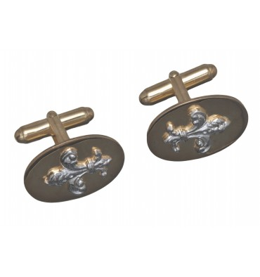 Solid Silver Fleur De Lys Swivel Cuff Links - Gold Plated