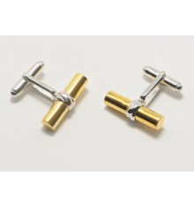 Gold Plated Sterling Silver Grandee Swivel Cufflinks-Silver