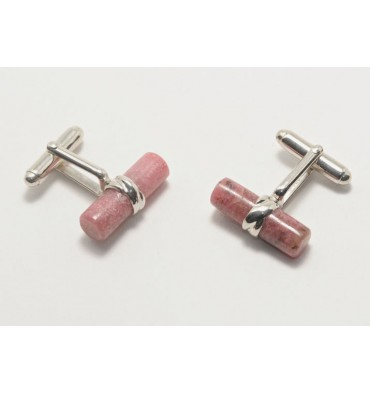 Rhodonite Swivel Sterling Silver Cuff links