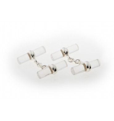 Rock Crystal Double Cylindrical Deluxe Cufflinks-Sterling Silver