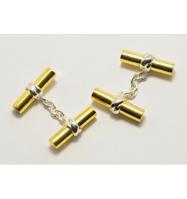 Solid Gold Plated Silver Deluxe Cylinder Cufflinks-Silver