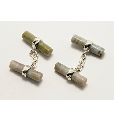 Wood Fossil Double Cylinder Deluxe Cufflinks-Sterling Silver