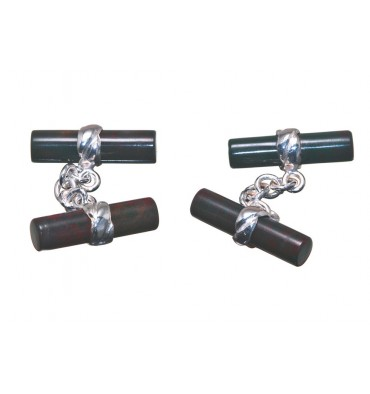 Bloodstone Cylindrical Double Deluxe Cufflinks-Sterling Silver