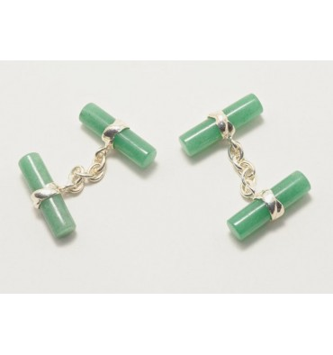 Aventurine Cylindrical Double Deluxe Cufflinks-Silver