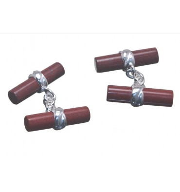 Red Jasper Cylindrical Double Deluxe Cufflinks-Sterling Silver