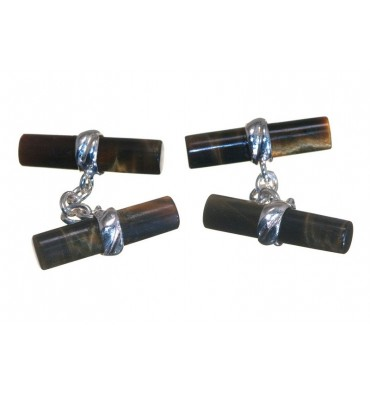 Tiger's Eye Cylinders Imperial Double Sterling Silver Cufflinks