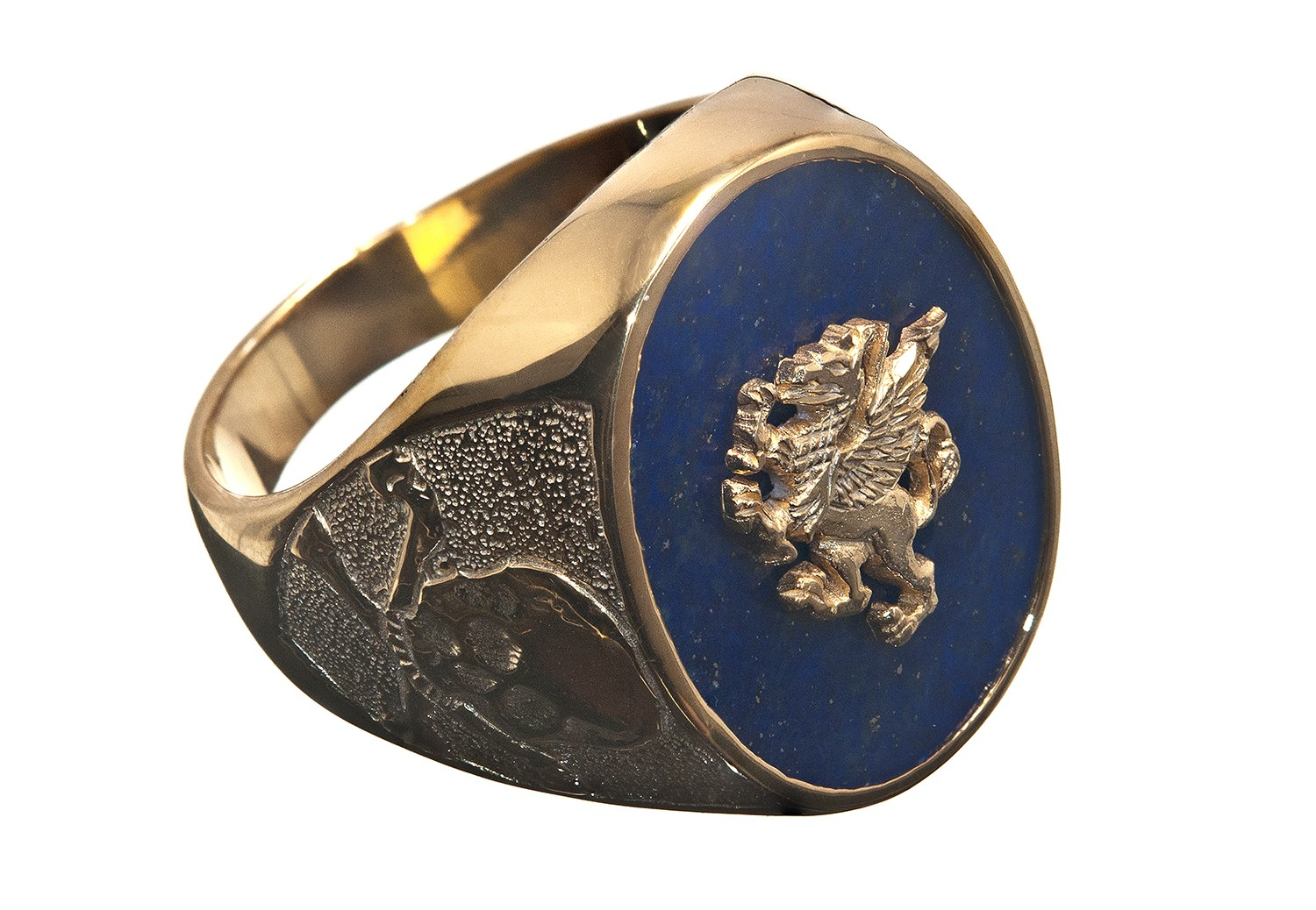 Lapis Griffin Amp Skull And Crossbone Gold Plated Sterling