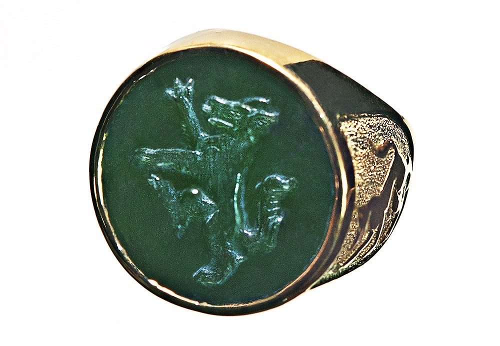 Canada Jade Wolf Rampant Gold Plated Sterling Silver
