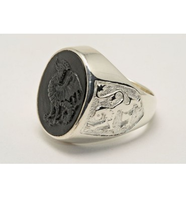 Black Onyx Cockatrice and Lion of Scotland Sterling Silver Ring