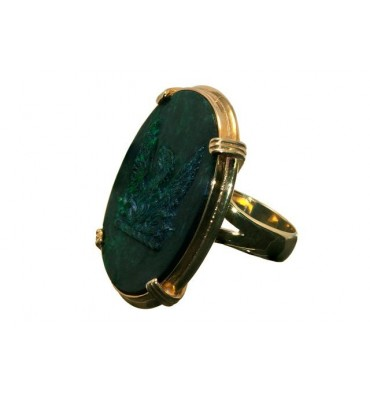 Black Jade Large Heraldic Gold Plated Sterling Silver Ring In Roman Design
