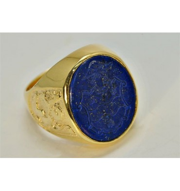 Lapis Coat Of Arms & Lion Of Scotland Gold Plated Sterling Silver Crest Ring