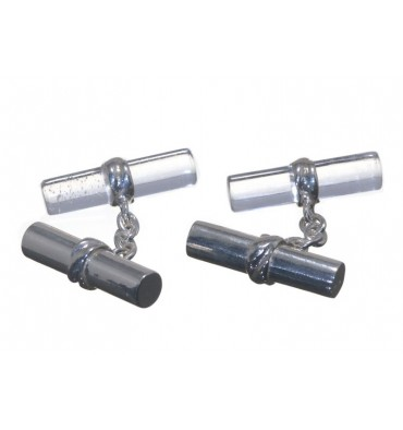 Rock Crystal & Silver Cylinder Mixed Doubles Cufflinks-Silver