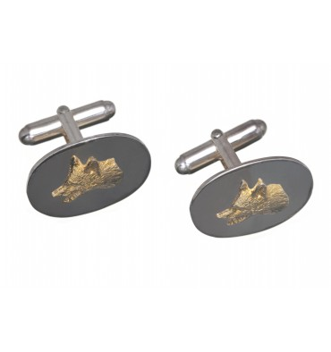 Silver Solid Oval Fox Cuff Links - Gold plate on Silver