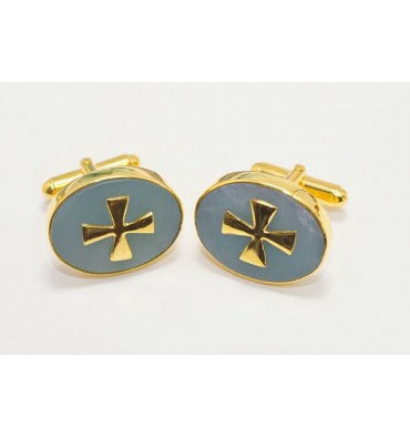 Aventurine Templar Cross Gold Plated Silver Cufflinks