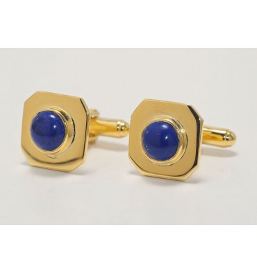 Lapis Gemstone Octagonal Cufflinks - Gold Plated Silver
