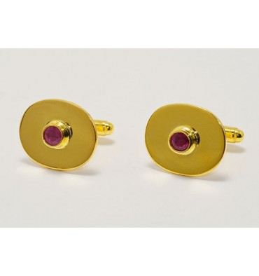 0.5 carat Ruby Oval Cufflinks - Gold Plated Silver