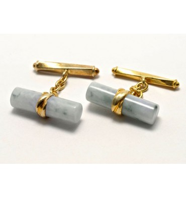 Jade Light Green Chain and Shaft Grandee Gold Plated sterling Silver Cufflinks
