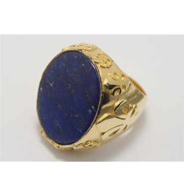 Lapis Lazuli and Fleur-De-Lys Gold Plated Sterling Silver Man's Ring