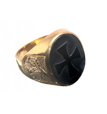 Black Onyx Templar Cross Gold Plated Sterling Silver Ring
